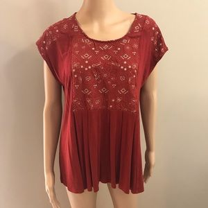 Anthropologie Top Blouse Short sleeve Red Sz M